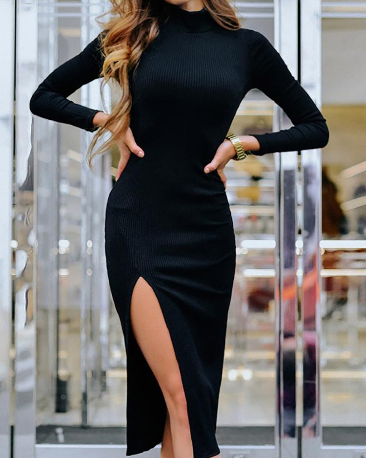 Solid Long Sleeve Slit Side Bodycon Dress фото