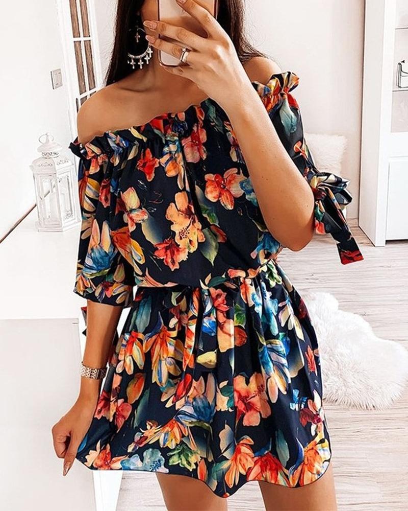 Floral Print Waist Elastic Off Shoulder Dress фото