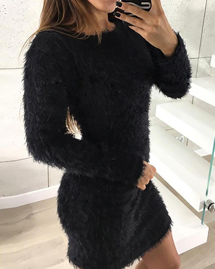 Solid Fluffy Long Sleeve Casual Dress, Black