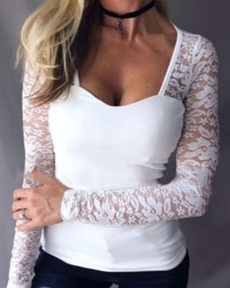 Lace Sleeve Insert Casual Blouse фото