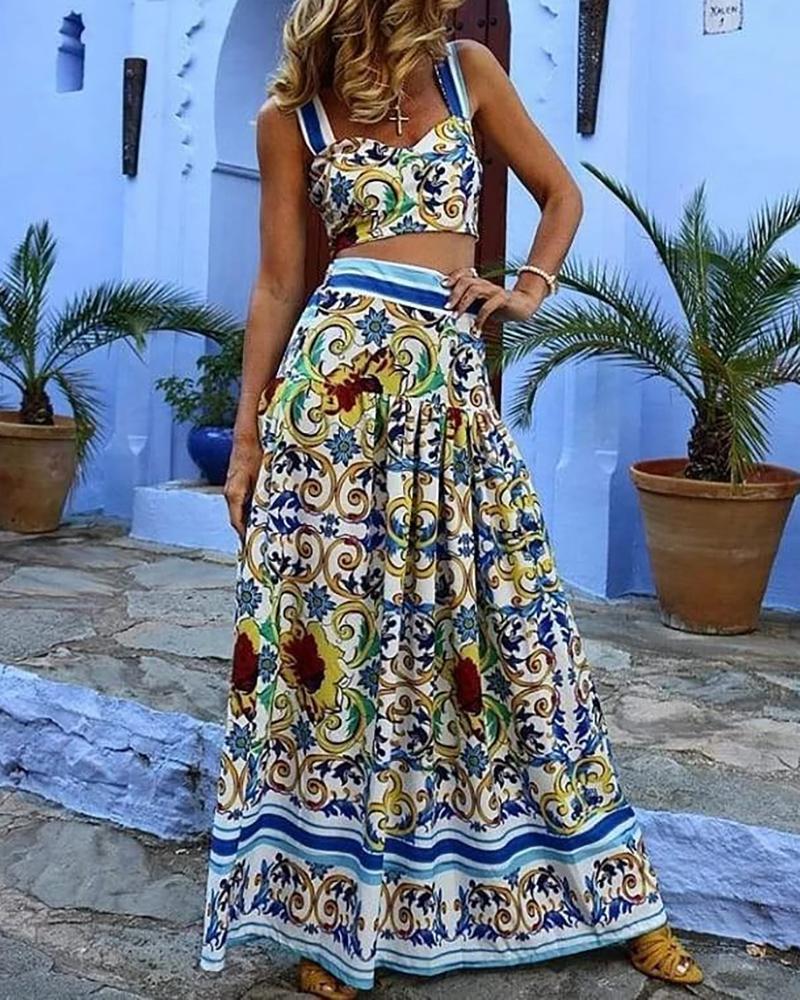 Baroque Print Top & Ruched Maxi Skirt Set фото