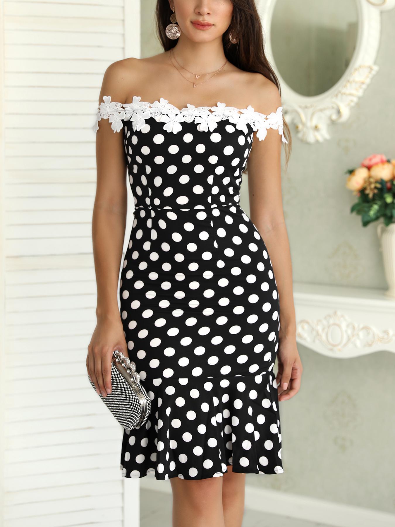 Dot Print Lace Applique Fishtail Bodycon Dress