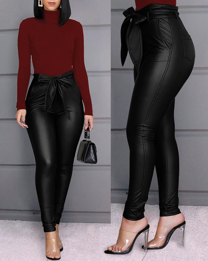Paperbag Waist Faux Leather Pants фото