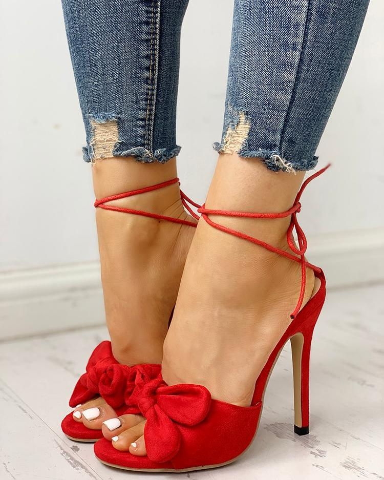 Bow Detail Multi-way Thin Heeled Sandals