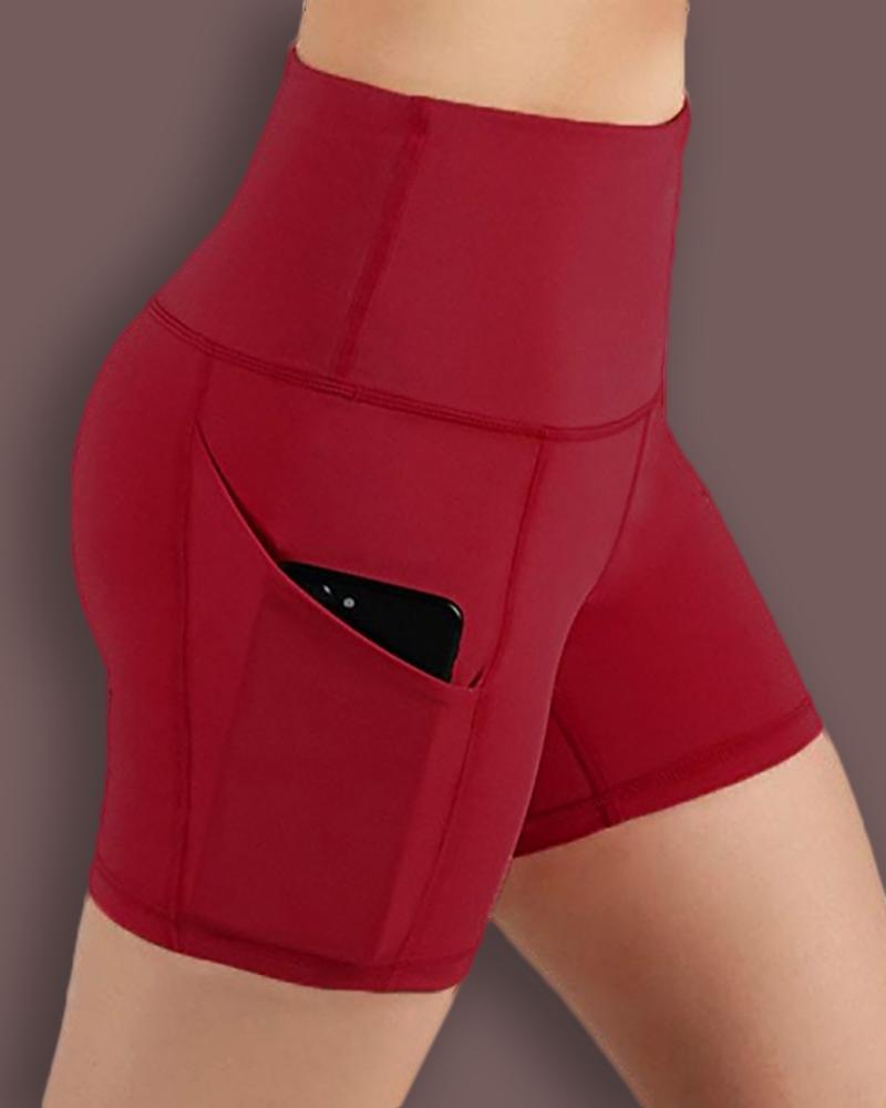 Solid High Waist Pockets Yoga Shorts фото