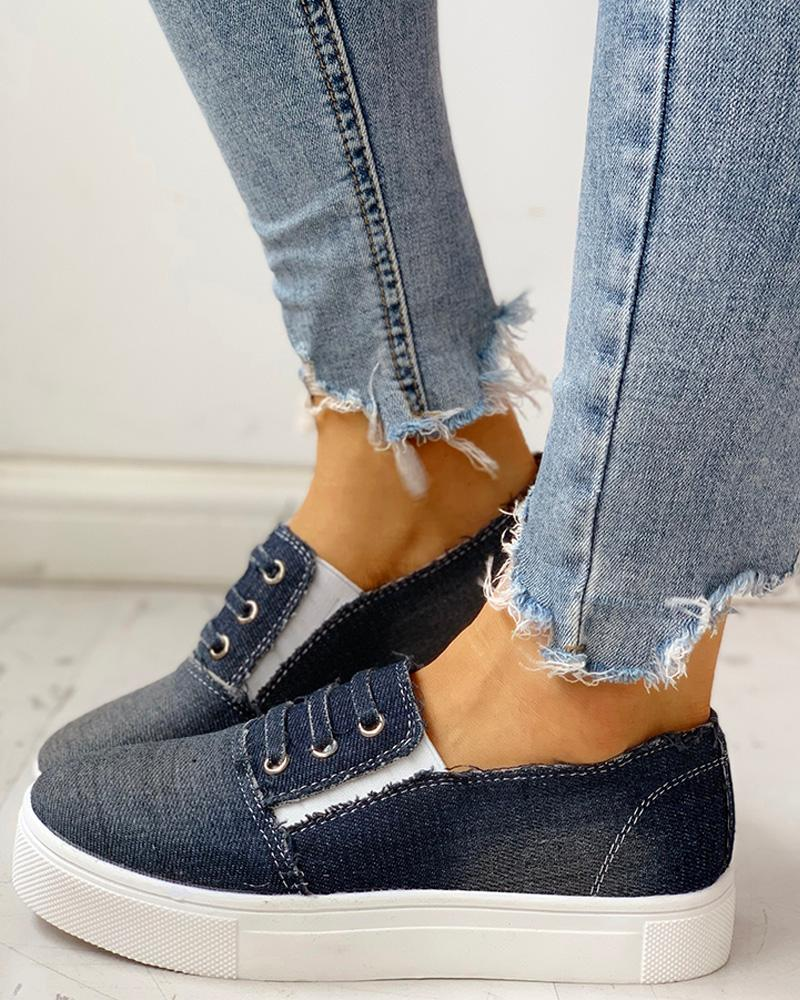 Eyelet Detail Flat Casual Shoes фото