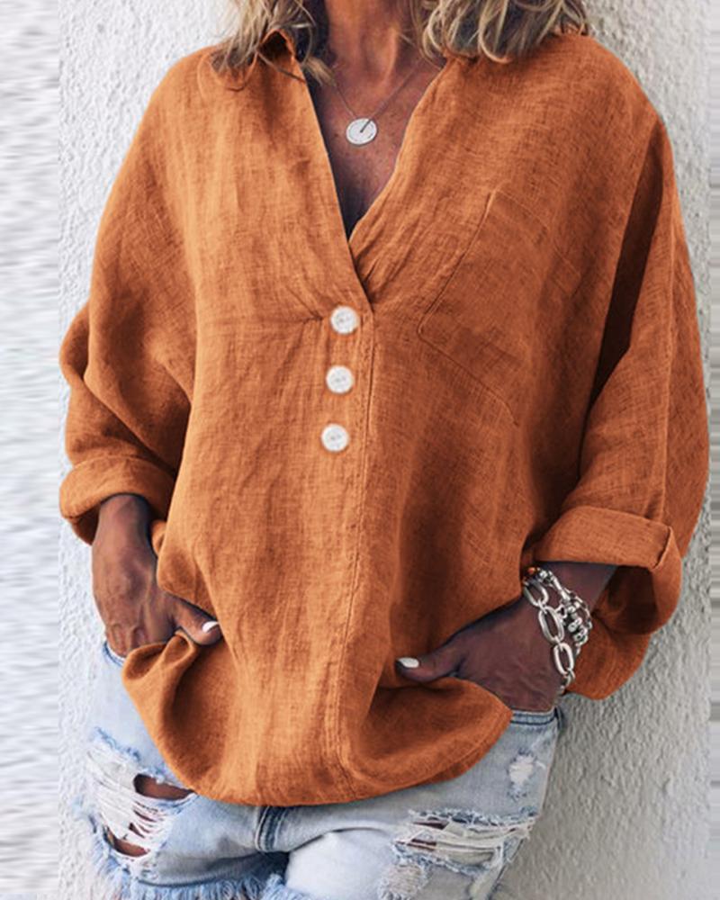 Button-Up Cotton & Linen Blouse фото