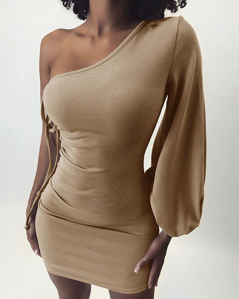 One Shoulder Ruched Bodycon Dress фото