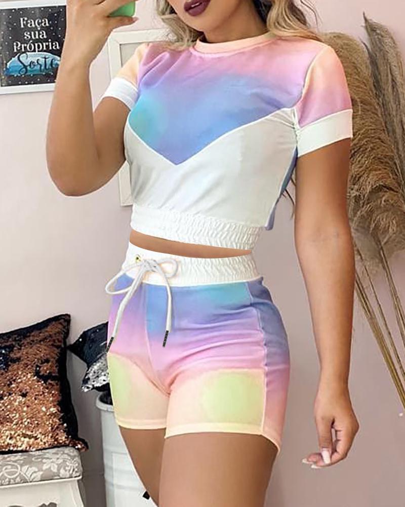 Tie Dye Print Colorblock Top & Drawstring Shorts Set фото