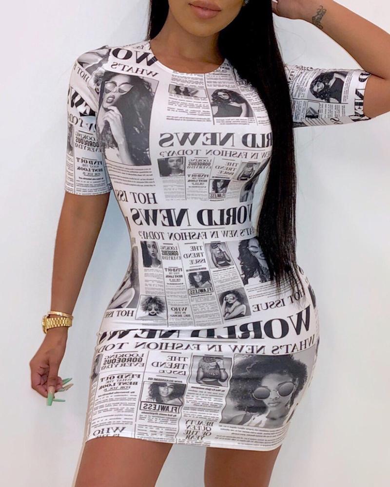 joyshoetique / Abstract Newspaper Print Short Sleeve Dress