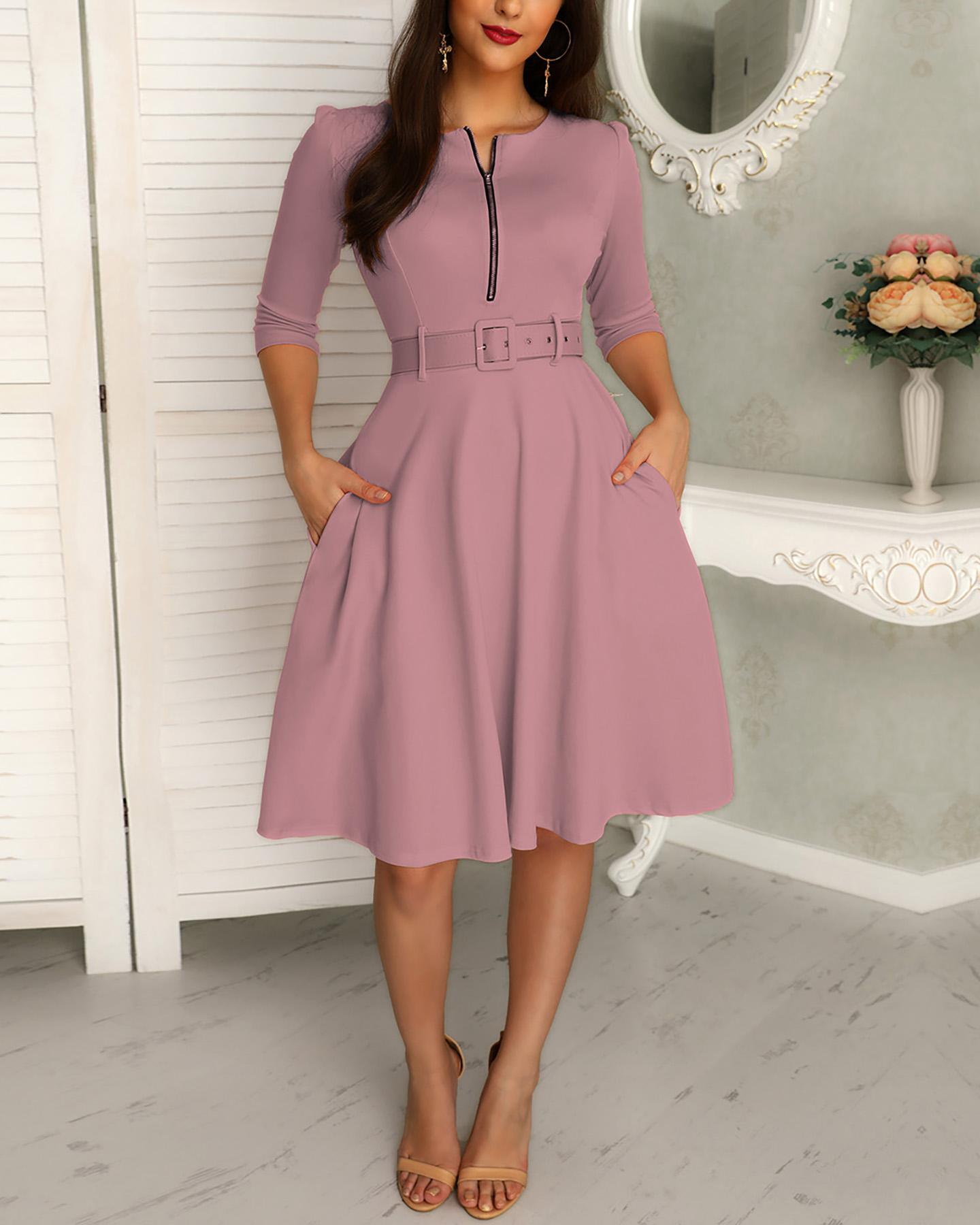 Solid Zipper Up Belted Pleated Casual Dress фото