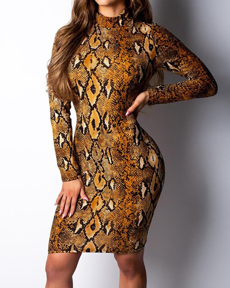 Snakeskin Print Long Sleeve Bodycon Dress