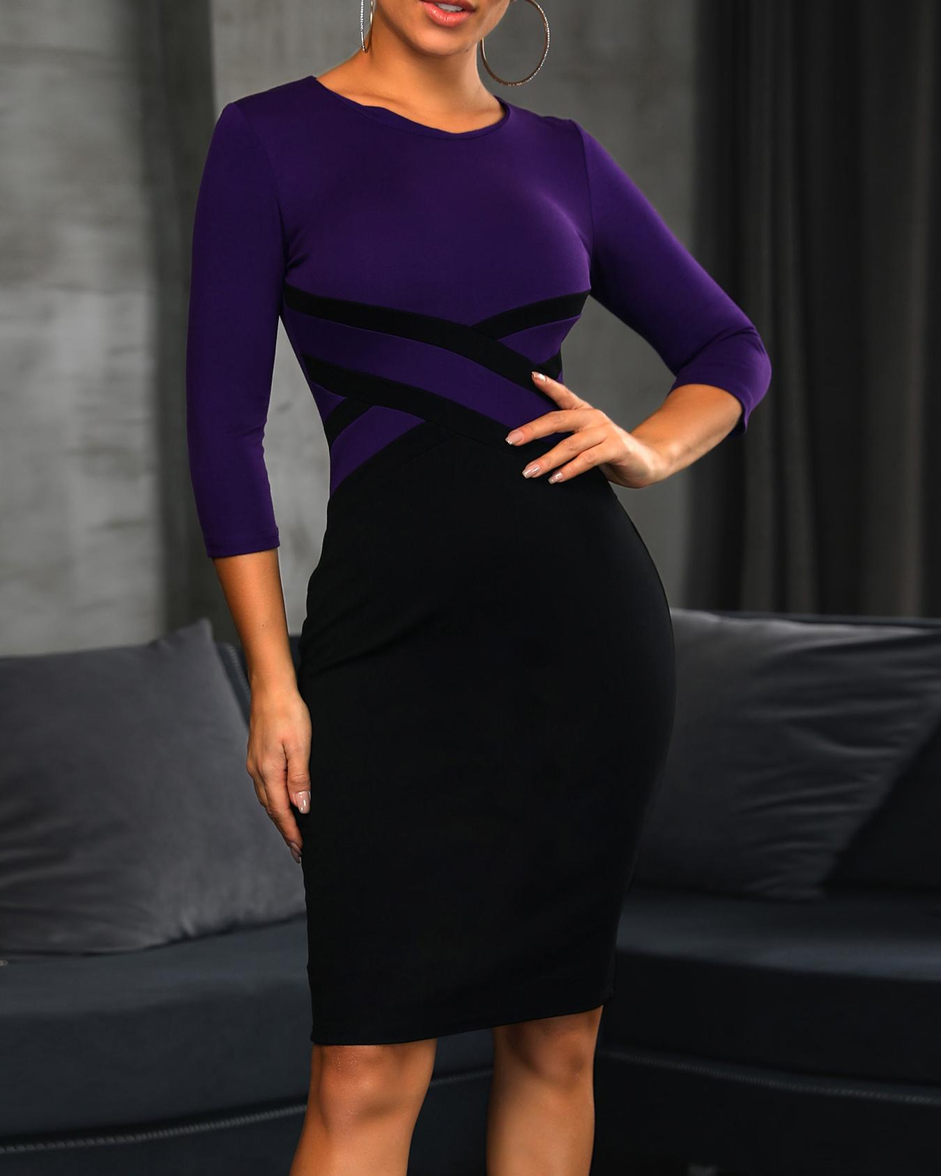 Contrast Color Insert Bodycon Dress
