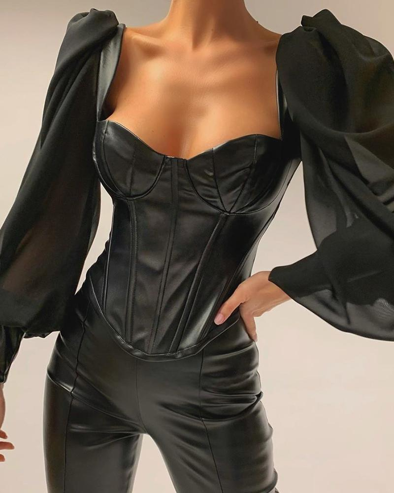 Leather Semi Sheer Patchwork Low Cut Blouse фото
