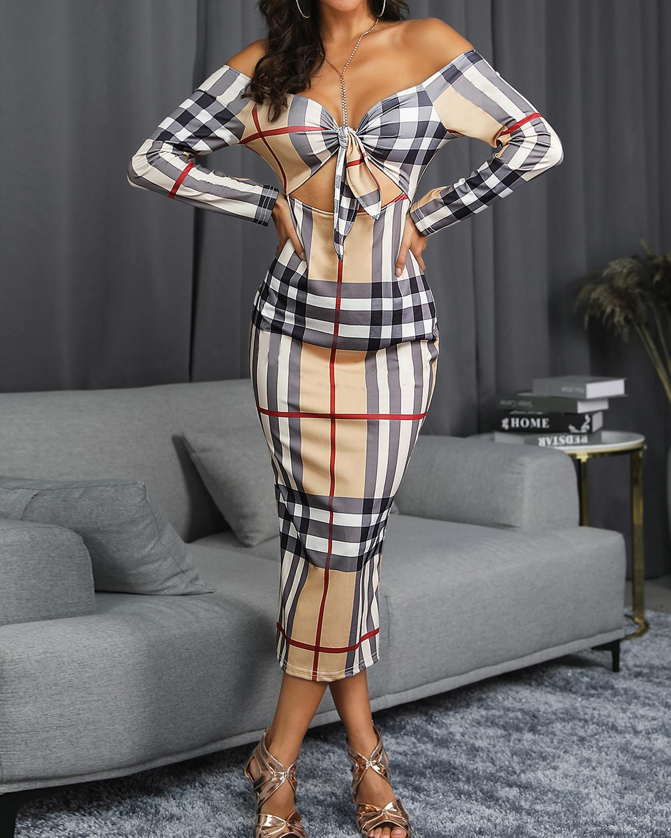 Off Shoulder Knotted Cut Out Plaid Dress
