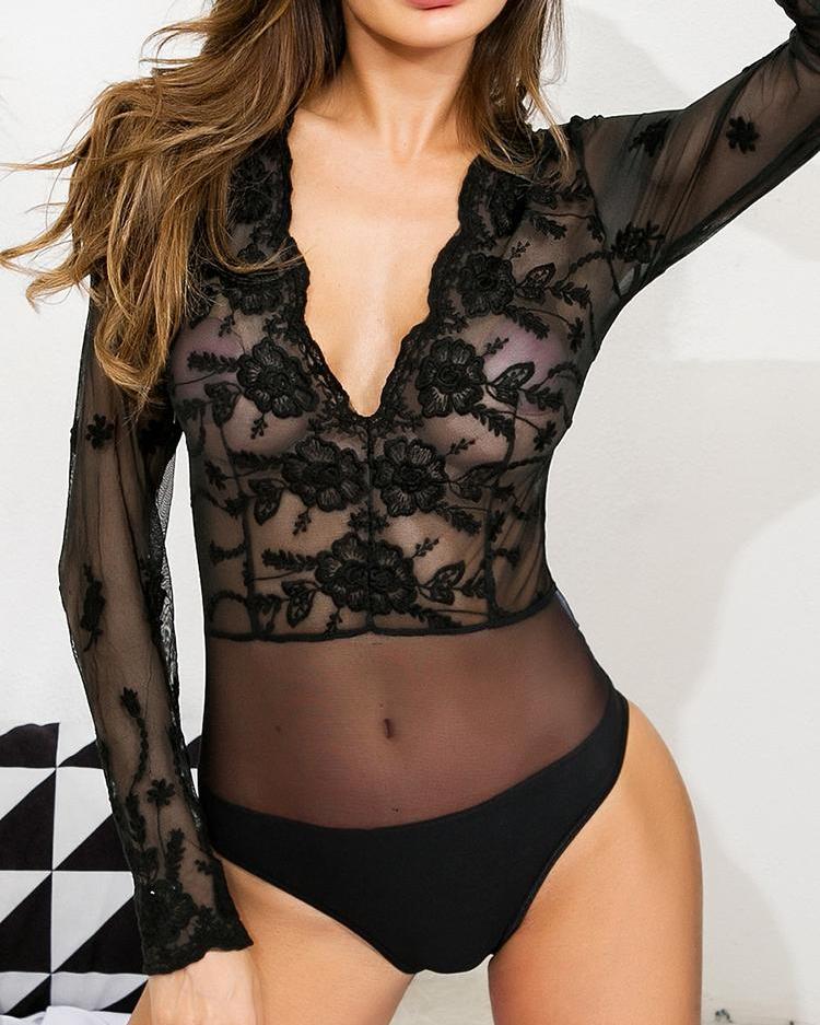 Lace Crochet Mesh Splicing Sheer Bodysuit