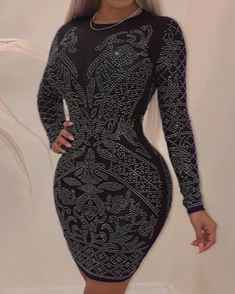 boutiquefeel / Hot stamping manga comprida bodycon dress