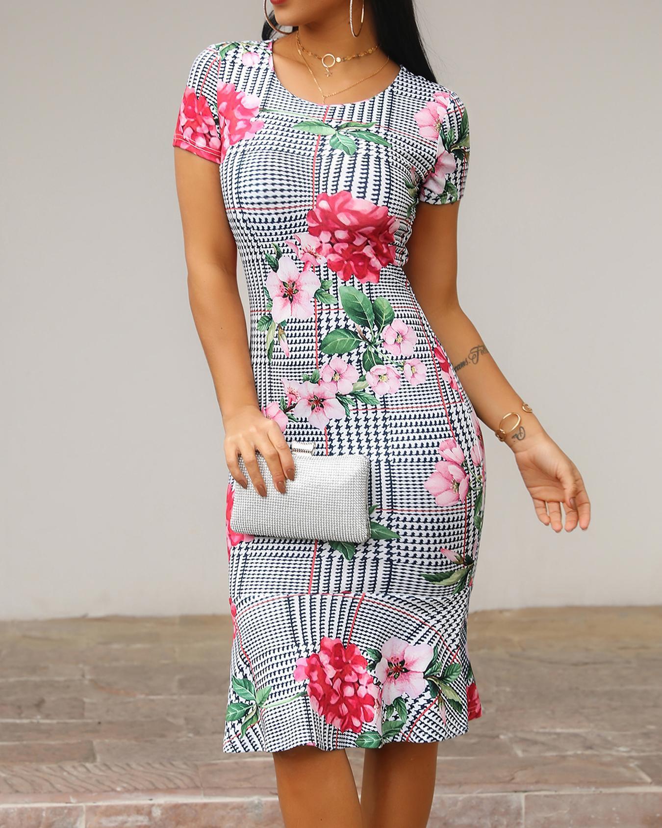 Floral & Plaid Print Fishtail Bodycon Dress фото