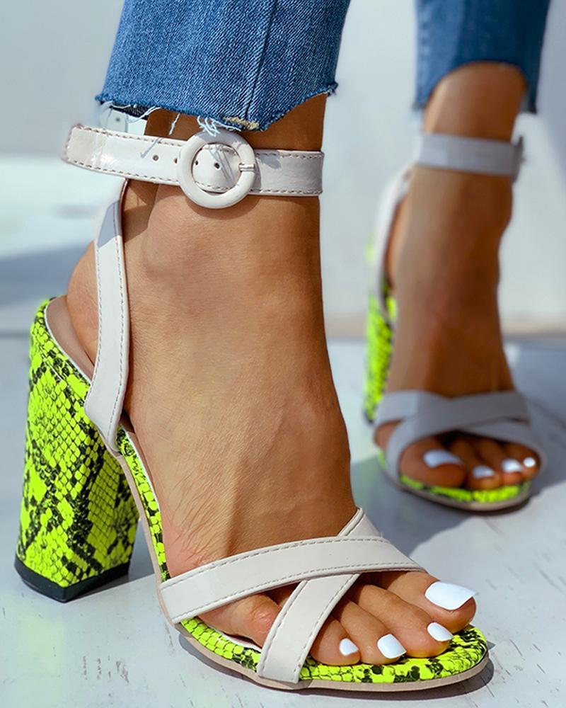 Snakeskin Print Chunky Heeled Sandals фото