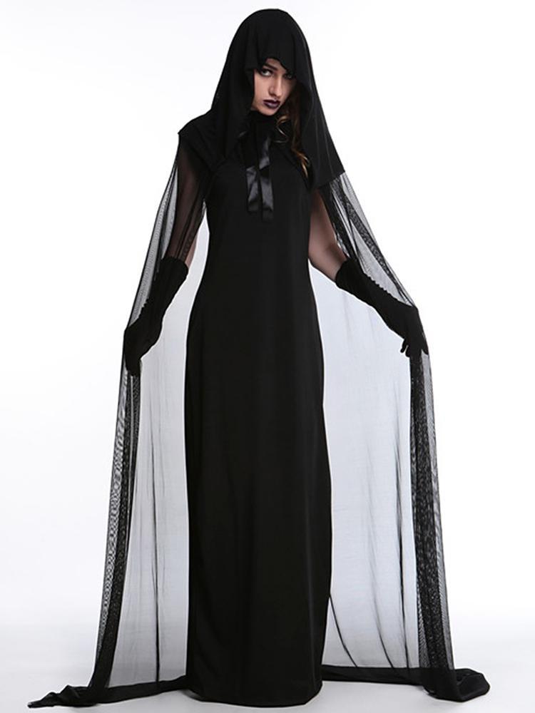 Deluxe Dark Night Witch Halloween Vampire Costume Set