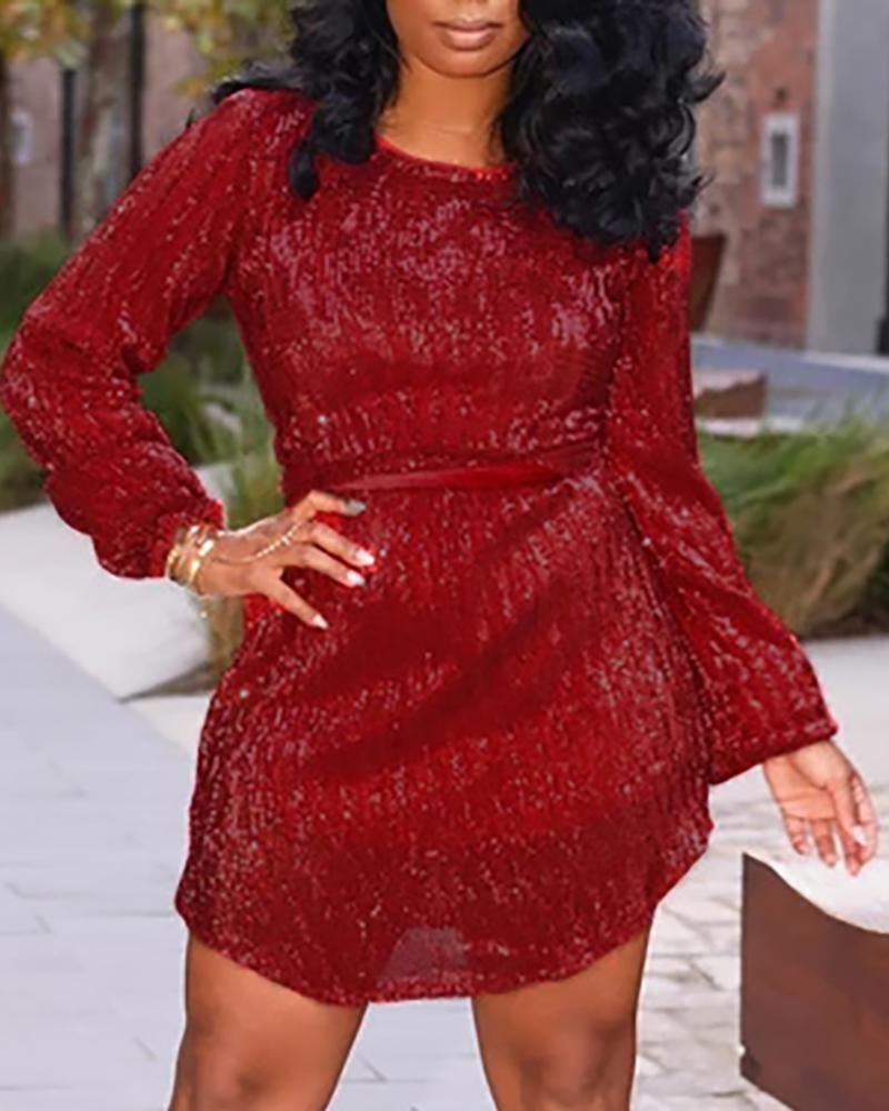 Glitter Round Neck Long Sleeve Sequins Dress фото