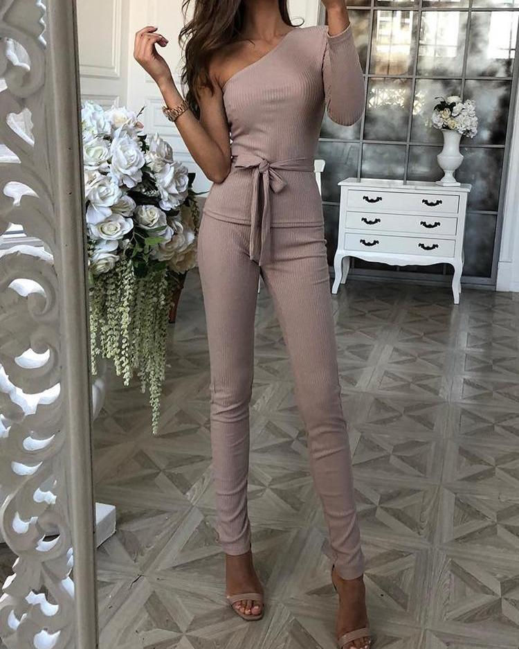 chicme / One Sleeve Tie Waist Top & Long Pants Sets