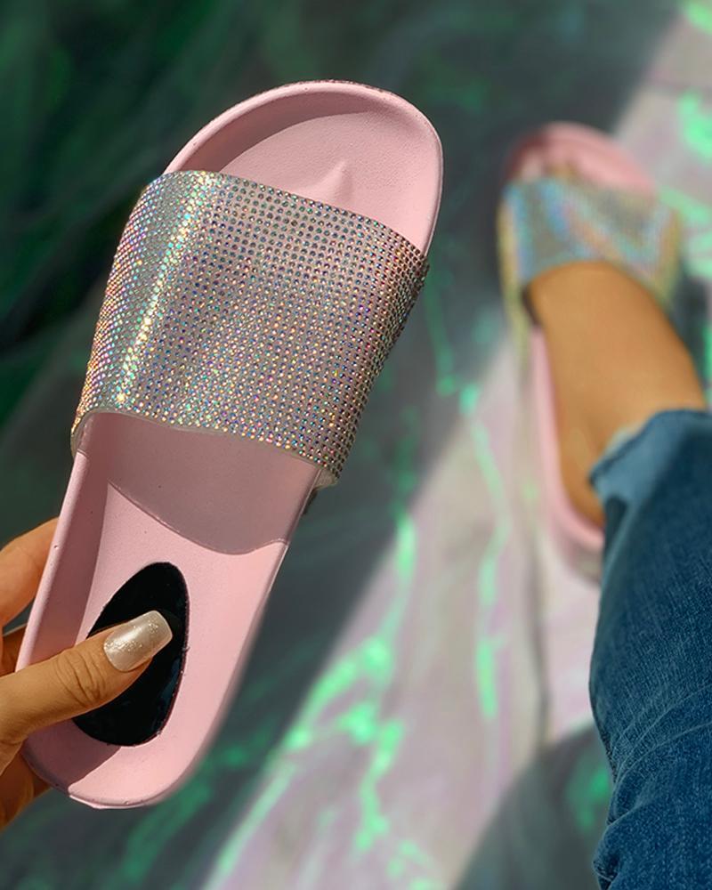 Rhinestone Peep Toe Flatform Heeled Sandals фото