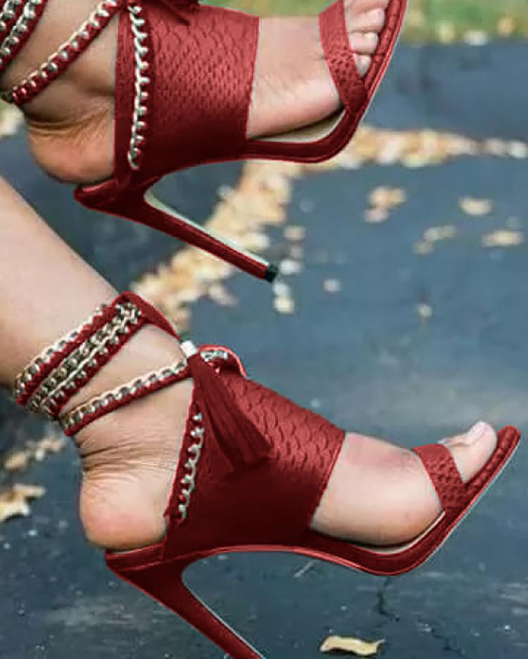 Chain Bandage Double Tassel Stiletto Sandals фото