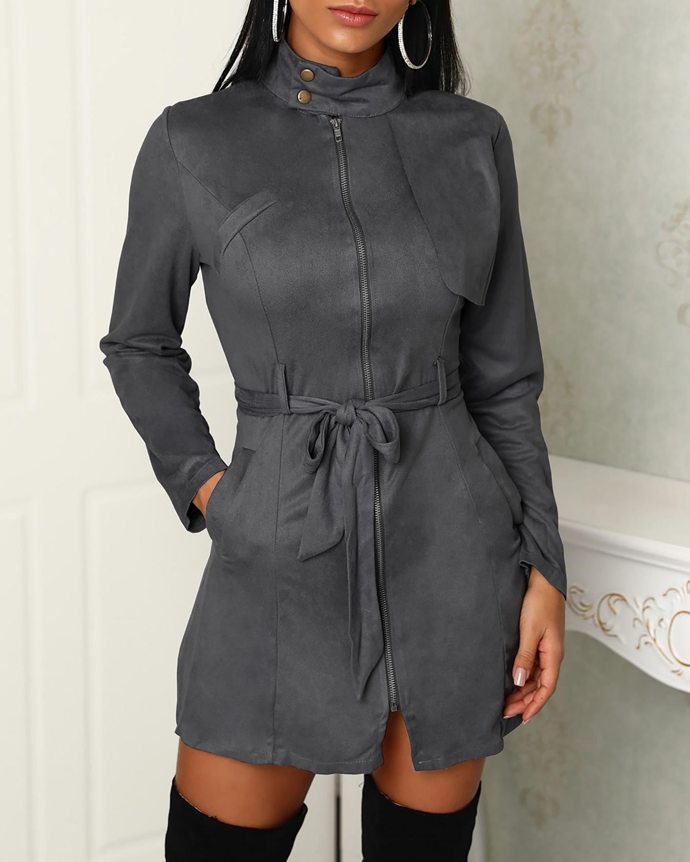 Zipper Front Pocket Design Belted Dress