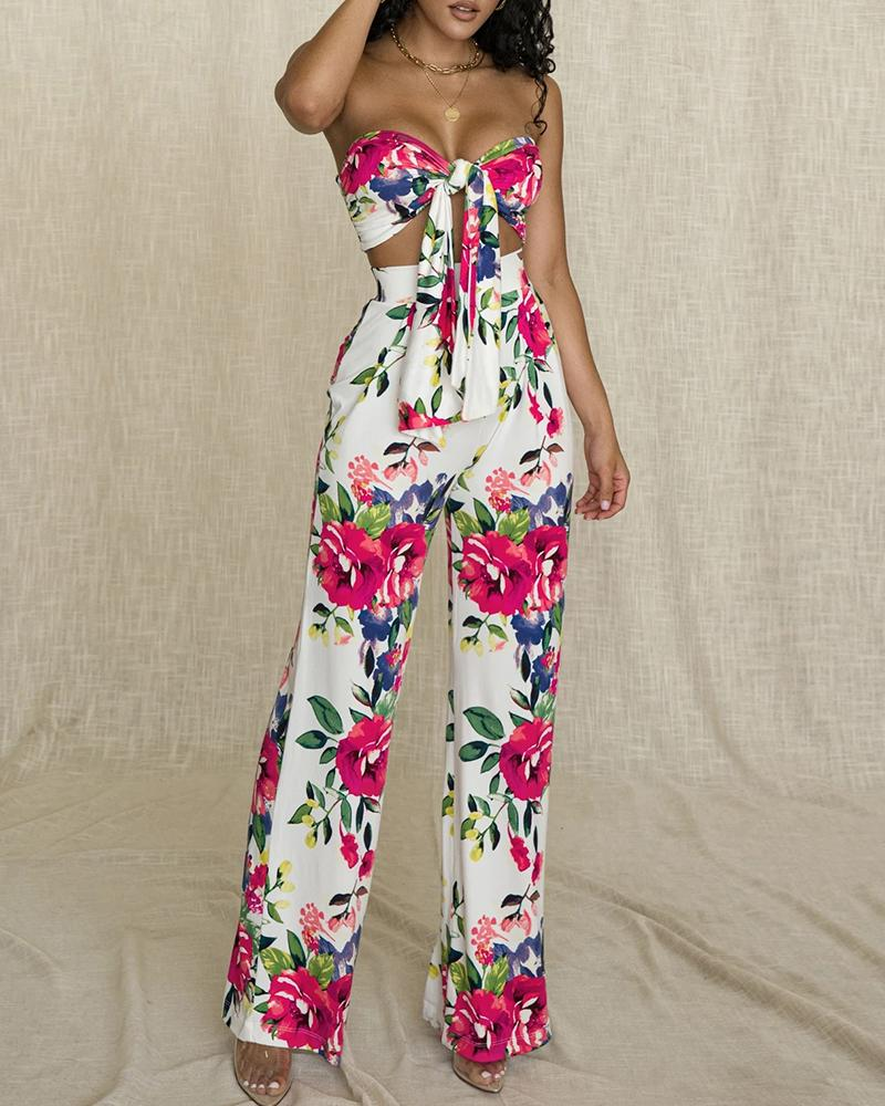 Blooming Floral Print Bandeau Knotted Top & Pants Set фото