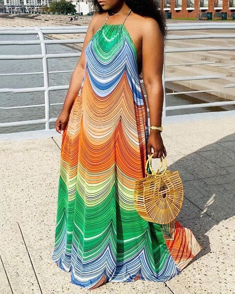 joyshoetique / Colorblock Halter Sleeveless Maxi Dress