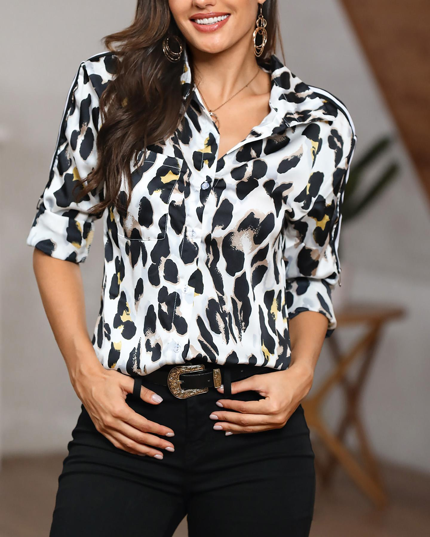 Leopard Print Striped Tape Splicing Casual Shirt фото