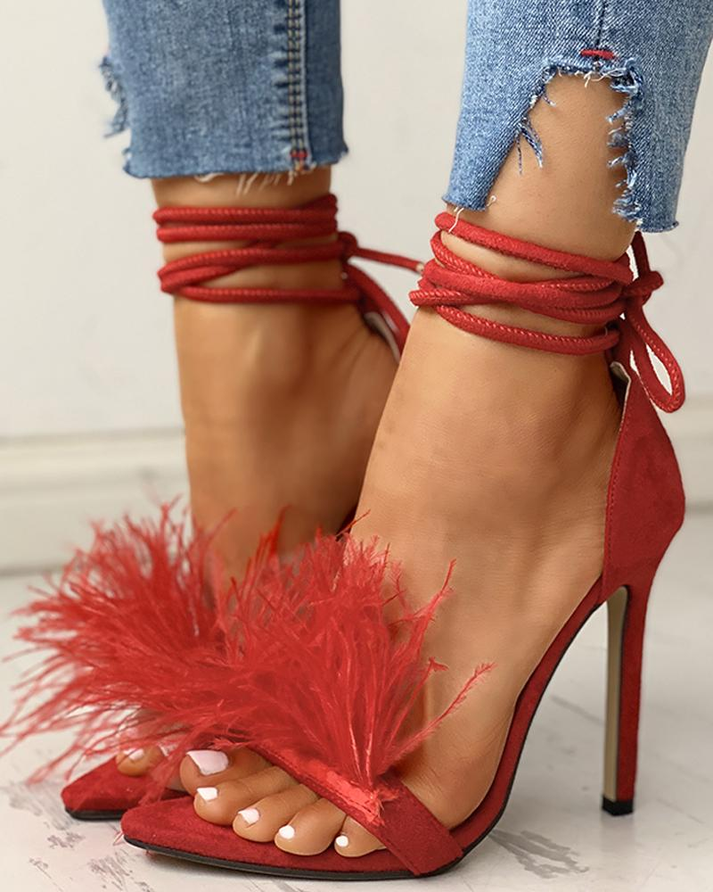 Feather Suede Open Toe Heeled Sandals, Red
