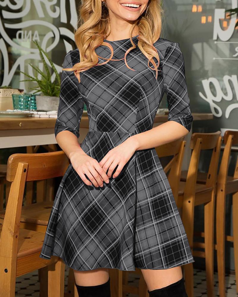 Grid Printed Half Sleeve Dress фото