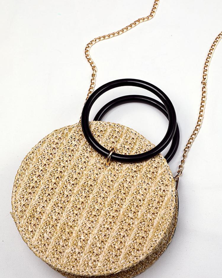Round Straw Metallic Chain Crossbody Bag