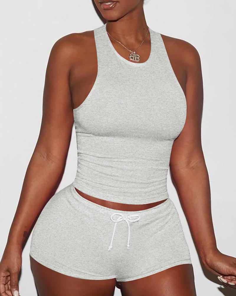 Sexy Solid Color Sporty Vest Shorts Set фото