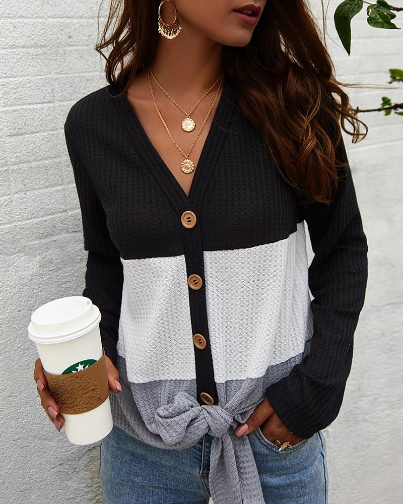 Colorblock Insert Buttoned Knotted Blouse фото
