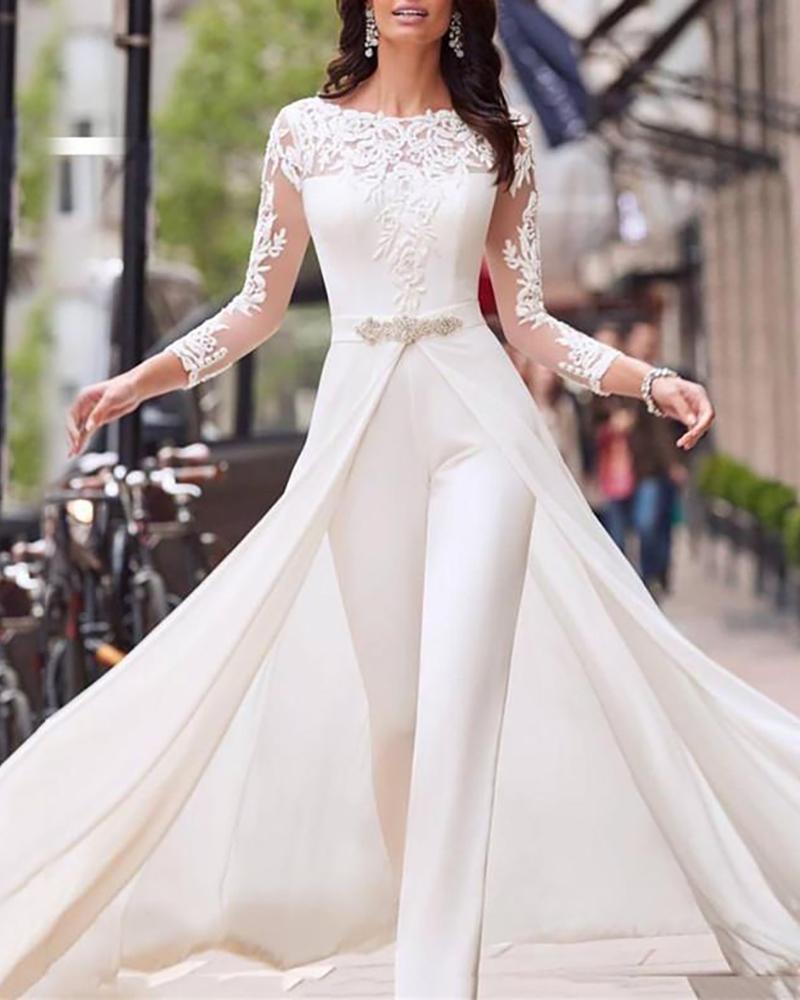 Sheer Mesh Lace Culottes Design jumpsuit фото