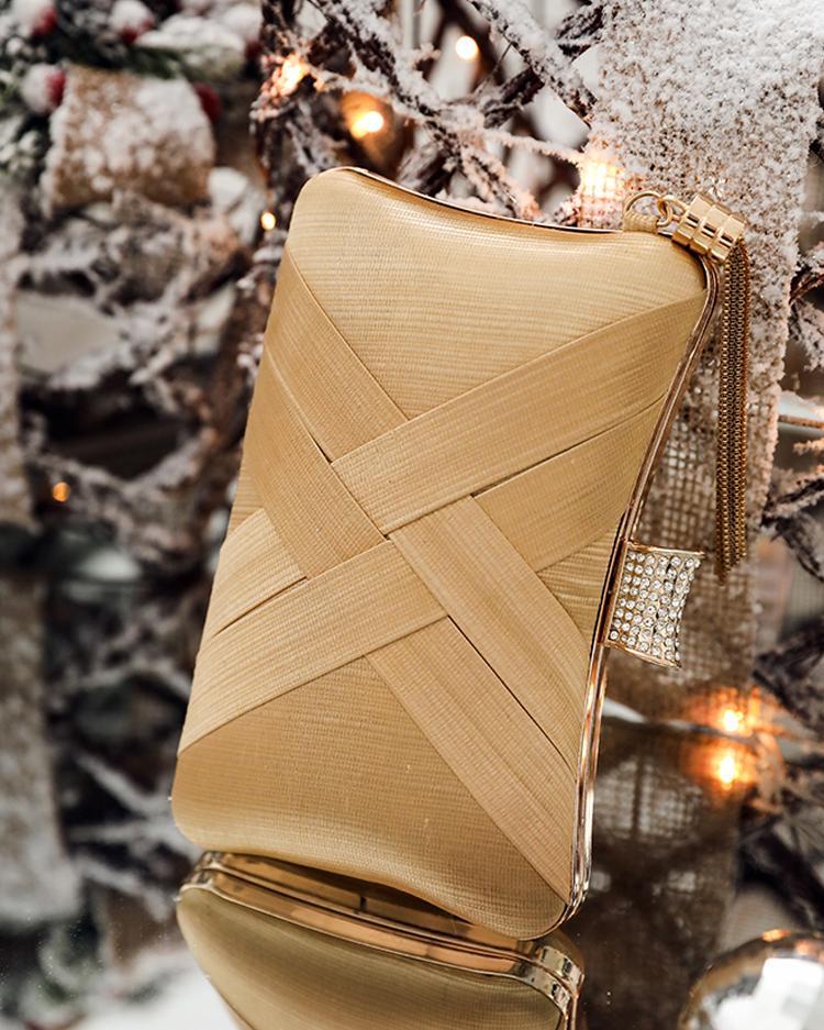Metallic Buckled Tassel Embellished Clutch Bag