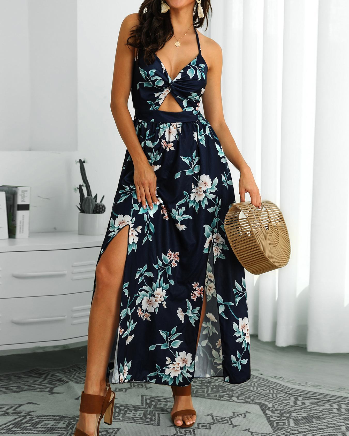 Halter Floral Print Slit Maxi Dress фото