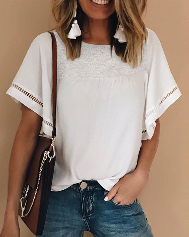 Lace Insert Hollow Out Casual T-shirt фото