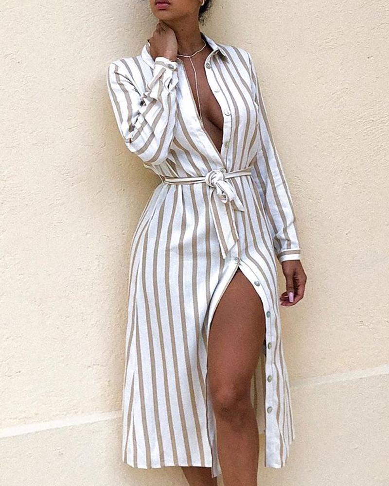 boutiquefeel / Vestido de camisa de manga larga a rayas