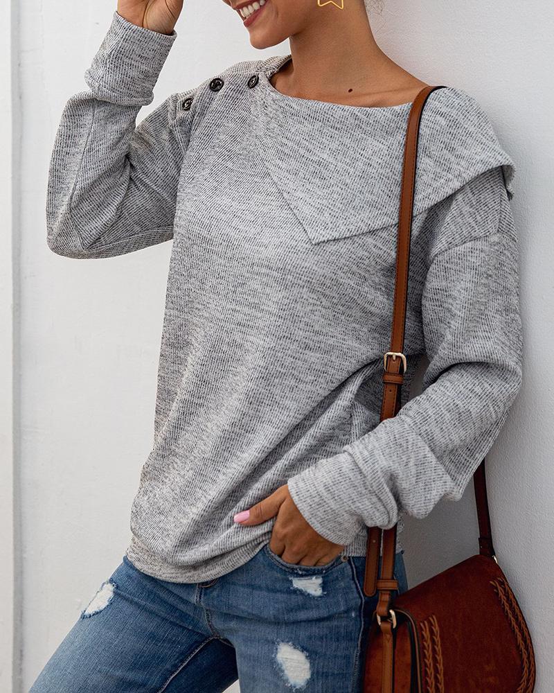 boutiquefeel / Blusa casual de mangas compridas com botões