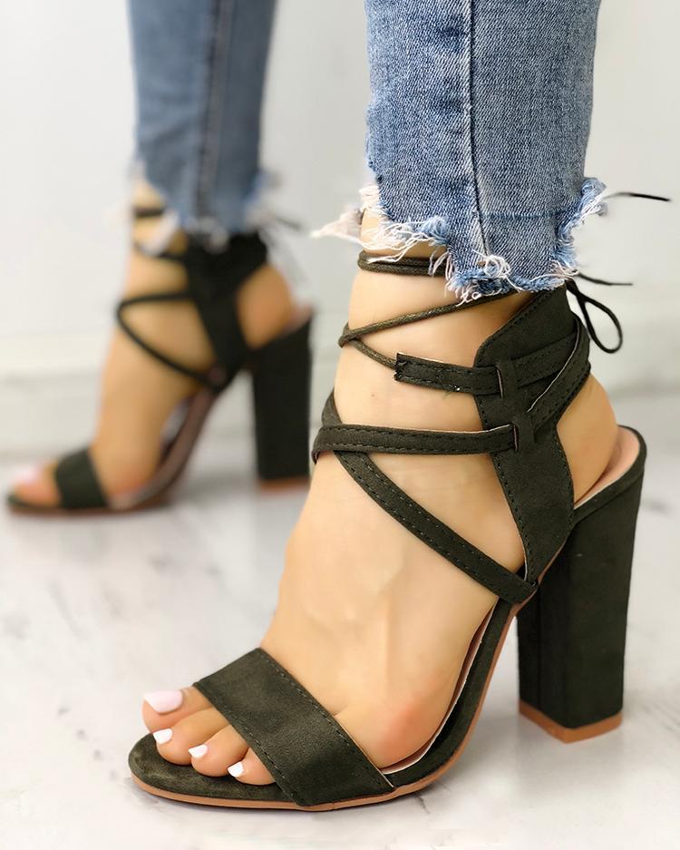 joyshoetique / Lace Up Open Toe Block Heels Sandals