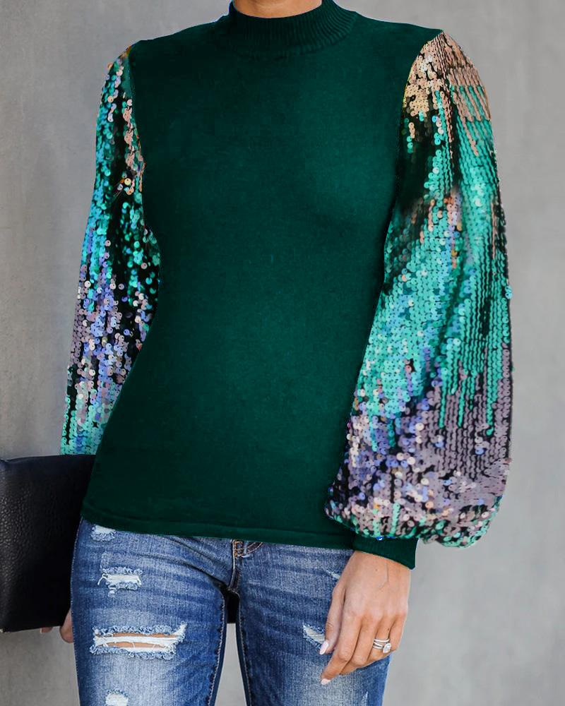 Lantern Sleeve Sequins Colorblock Top, Army green