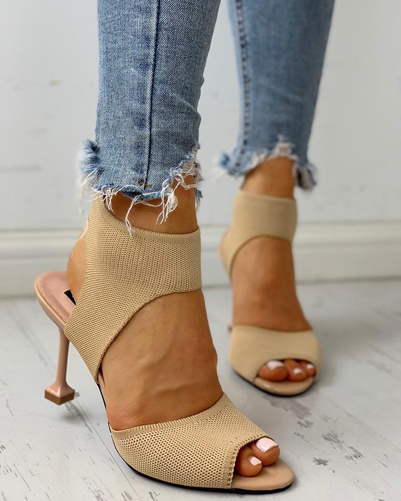 joyshoetique / Peep Toe Knitting Cutout Thin Heels