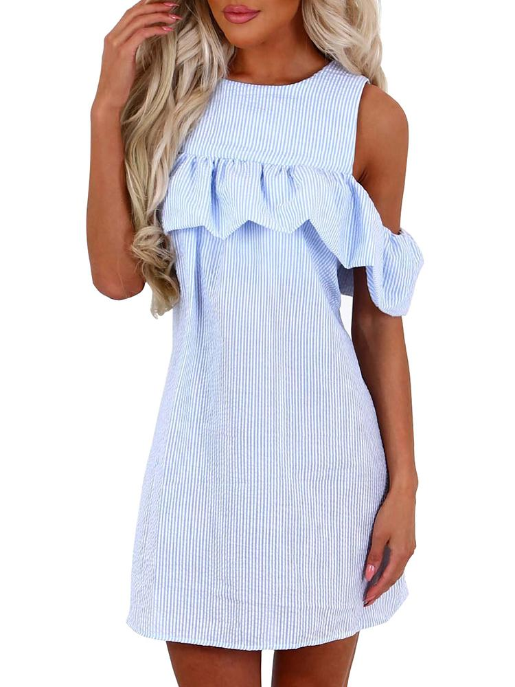 Cold Shoulder Ruffled Patchwork Striped Casual Dress