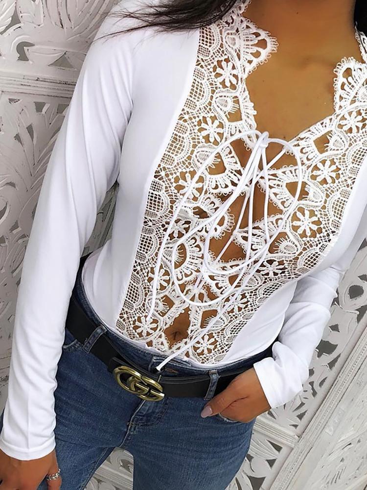 Crochet Lace Insert Strappy Bodysuit