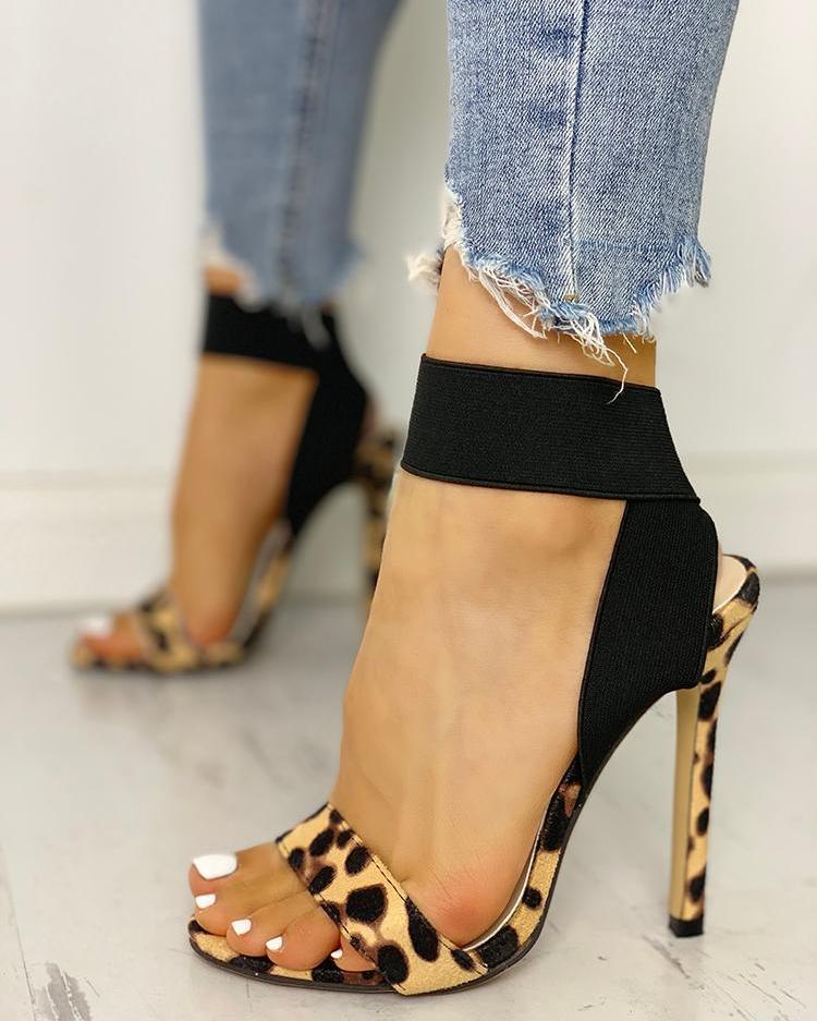 Leopard Single Strap Elastic Bandage Sandals фото