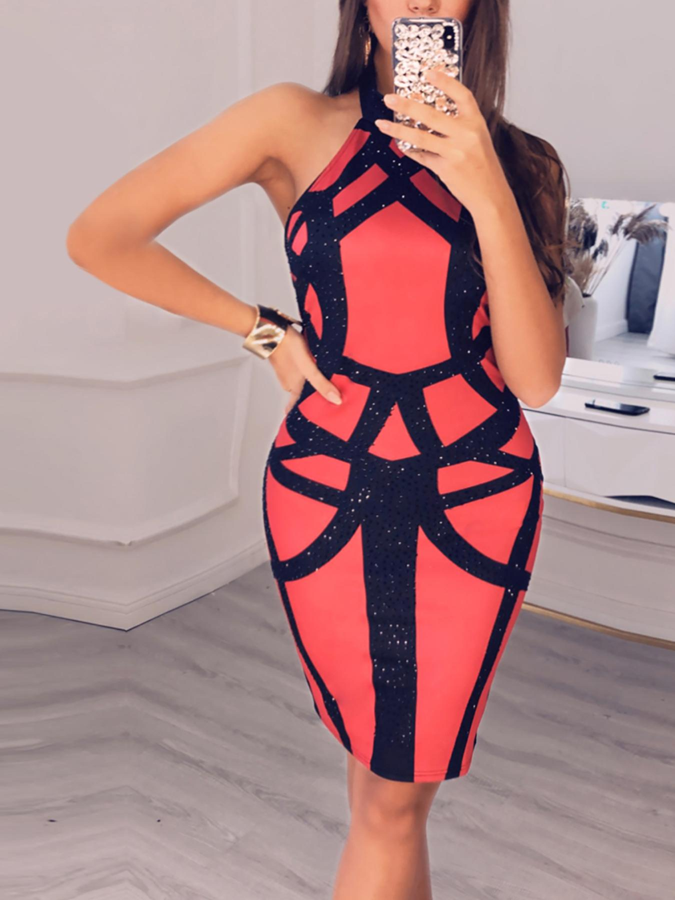 Studded Colorblock Halter Bodycon Dress
